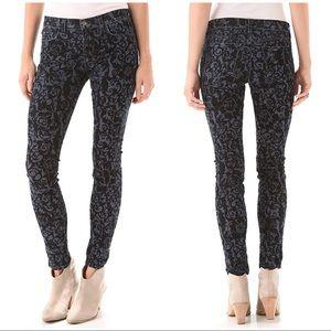 J Brand 811 Mid Rise Black Brocade Jeans